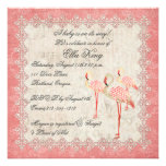 Vintage Pink Rose Flamingos Baby Invitation
