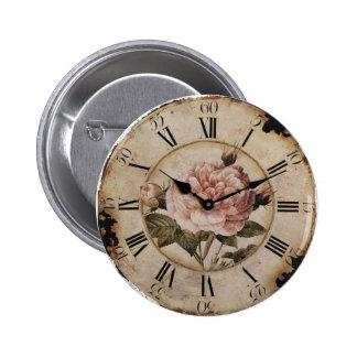 Vintage Pink Rose Floral Clock Wedding Favor 6 Cm Round Badge