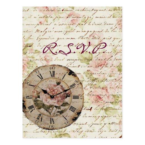 Vintage Pink Rose Floral Clock Wedding Favor Post Card