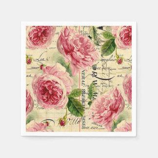 Vintage pink rose floral garden party napkins disposable serviette