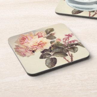 Vintage Pink Rose Flowers Bumblebee Coaster