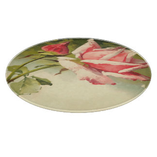Vintage Pink Rose Glass Cutting Board 12""