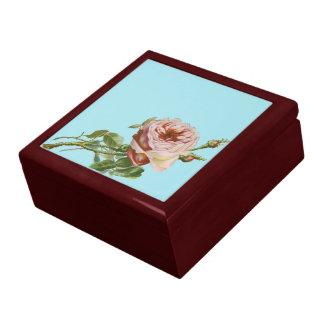 Vintage Pink Rose on Pale Aqua Large Square Gift Box