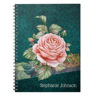 Vintage Pink Rose on Teal Damask Personalised Notebook
