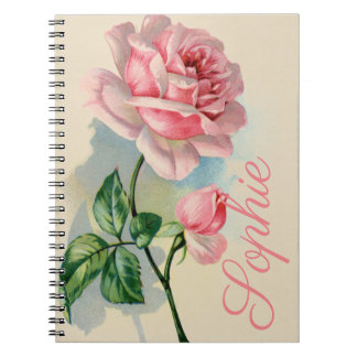 Vintage Pink Rose Personnalised Notebooks