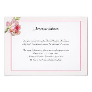 "Vintage Pink Rose Posh Wedding Insert 3.5"" X 5"" Invitation Card"