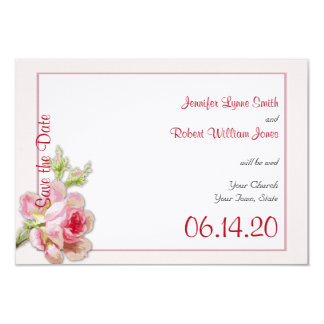 "Vintage Pink Rose Posh Wedding Save the Date 3.5"" X 5"" Invitation Card"