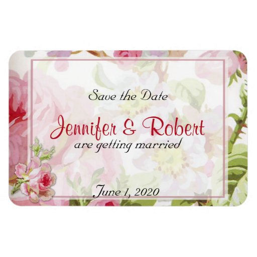 Vintage Pink Rose Posh Wedding Save the Date Rectangle Magnets