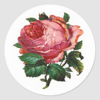 VINTAGE PINK ROSE ROUND STICKER
