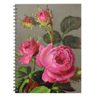Vintage Pink Rose Spiral Notebook