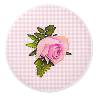 Vintage Pink Rose Striped Chic White Knob