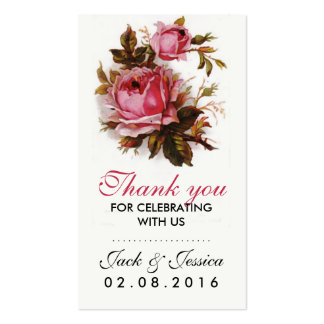 Vintage Pink Rose Thank You Tag for Wedding Pack Of Standard Business Cards