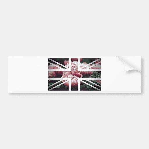 Vintage Pink Rose Union Jack British(UK) Flag Bumper Sticker