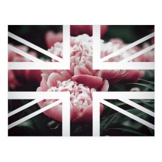 Vintage Pink Rose Union Jack British(UK) Flag Postcard