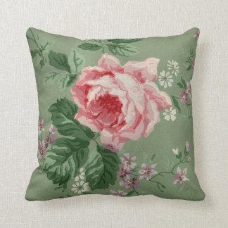 Vintage Pink Rose Wallpaper Cushion