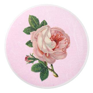 Vintage Pink Rose White Knob