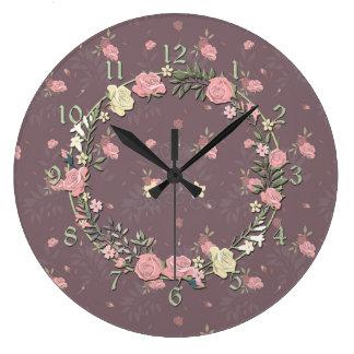 Vintage Pink Rose Wreath Wall Clocks