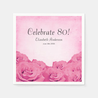 Vintage Pink Roses 80th Birthday Party Disposable Napkin
