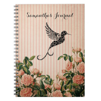 Vintage Pink Roses and Artistic Black Hummingbird Notebook