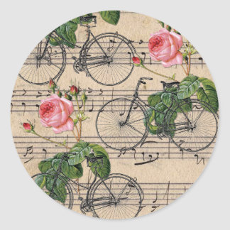 Vintage Pink Roses and Bicycles Round Sticker