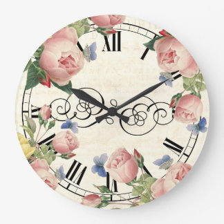 Vintage Pink Roses and Blue Butterflies Large Clock