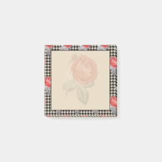 Vintage pink roses and houndstooth design post-it notes