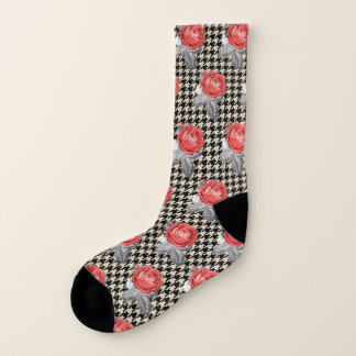 Vintage pink roses and houndstooth pattern 1