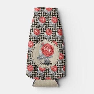 Vintage pink roses and houndstooth pattern bottle cooler