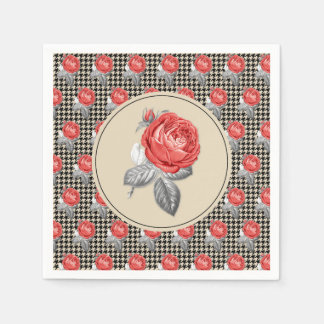 Vintage pink roses and houndstooth pattern disposable serviettes