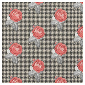 Vintage pink roses and houndstooth pattern fabric