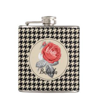 Vintage pink roses and houndstooth pattern hip flask