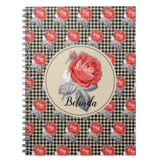 Vintage pink roses and houndstooth pattern notebooks
