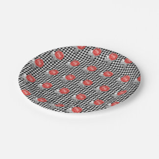 Vintage pink roses and houndstooth pattern paper plate