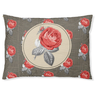 Vintage pink roses and houndstooth pattern pet bed