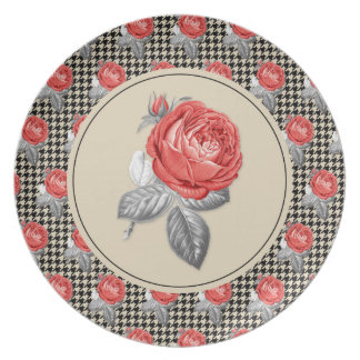 Vintage pink roses and houndstooth pattern plate