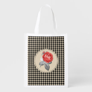 Vintage pink roses and houndstooth pattern reusable grocery bag