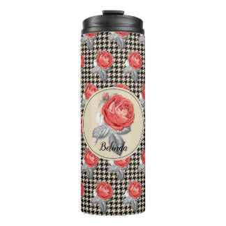 Vintage pink roses and houndstooth pattern thermal tumbler