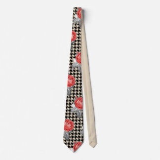 Vintage pink roses and houndstooth pattern tie