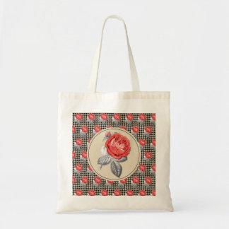 Vintage pink roses and houndstooth pattern tote bag