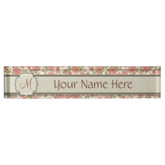 Vintage Pink Roses and Marble with Monogram Nameplate