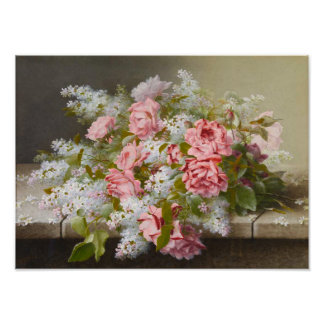 Vintage Pink Roses and White Lilacs Poster