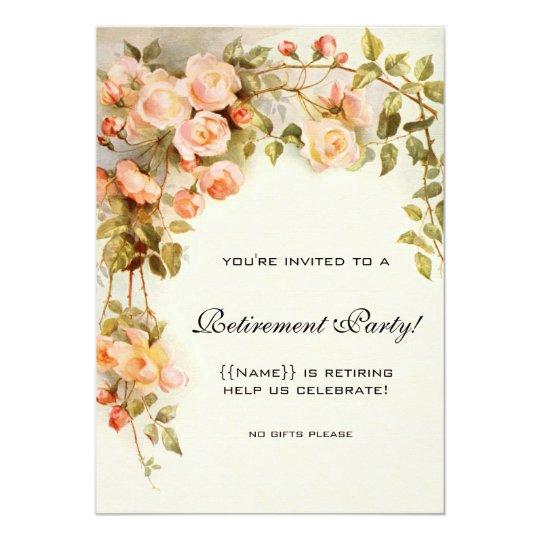 Vintage Pink Roses Antique Floral Retirement Party Card
