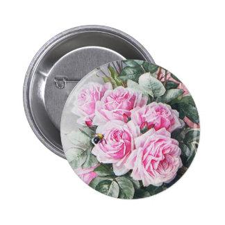 Vintage Pink Roses Bouquet Button