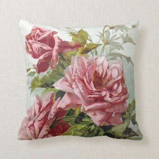 Vintage Pink Roses Bouquet Throw Pillow