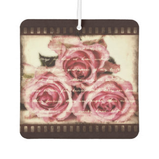 Vintage Pink Roses Car Air Freshener