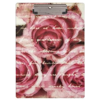 Vintage Pink Roses Clipboard