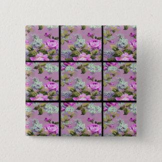 Vintage Pink Roses Collage On Black 15 Cm Square Badge