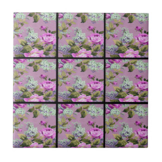Vintage Pink Roses Collage On Black Tile