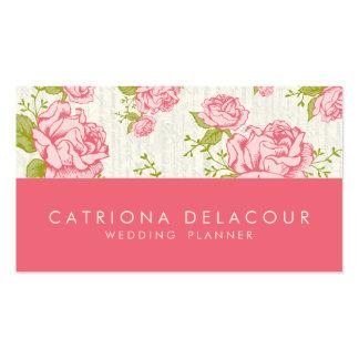 Vintage Pink Roses Elegant Business Card