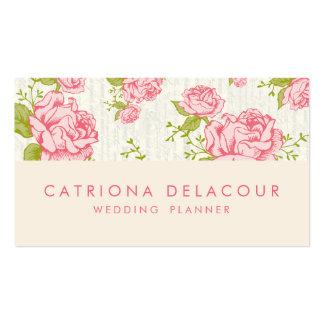 Vintage Pink Roses Floral Pattern Business Card